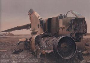 """Iraqi Wreckage"" by Harley  Copic (2004.028 - courtesy of AF Art Program)  http://www.afapo.hq.af.mil/Presentation/Common/artcollection.cfm?MAIN_ID=2&CAT_ID=3&GROUP_ID=416&IMAGE_ID=9033"