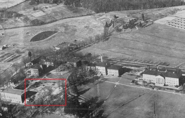 Aerial of University of Maryland campus, 1927.  The remnants of the barracks are within the red outlined area.