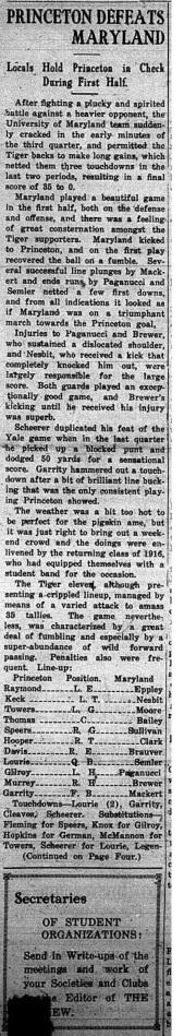 MD vs. Princeton, 1920